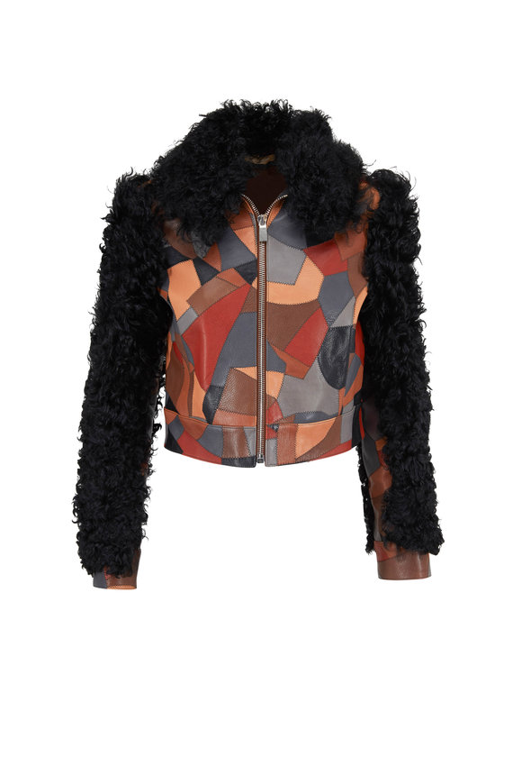 Michael Kors Collection Cocoa Multi Patch Lamb Leather & Shearling Jacket