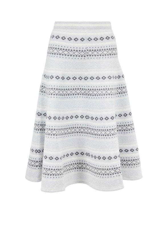 Adam Lippes Fairisle Light Gray Multicolor Knit Midi Skirt