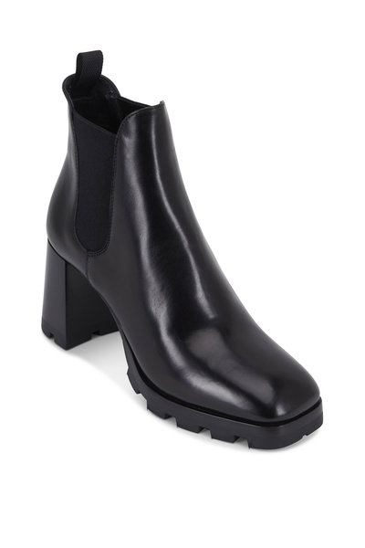 Prada - Black Leather Lug Sole Bootie, 80mm