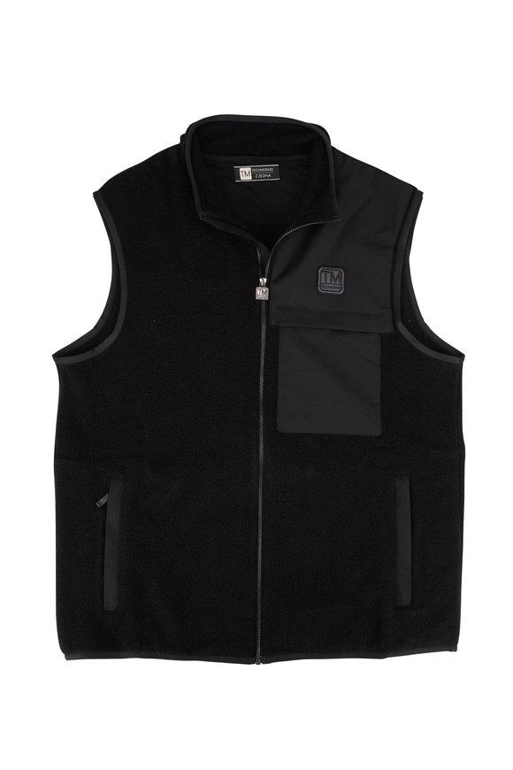 Z Zegna Black Techmerino Fleece Zip Front Vest