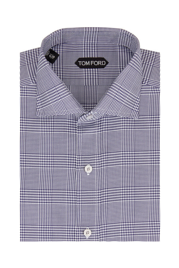 Tom Ford Navy Blue Prince Of Wales Plaid Sport Shirt