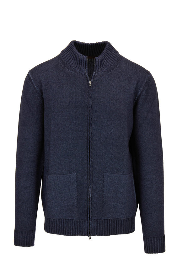 Altea Blue Wool Front Zip Cardigan