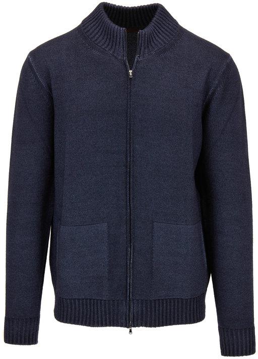 Altea Blue Wool Front Zip Cardigan