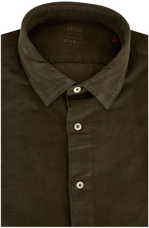 Altea Olive Green Corduroy Dyed Sport Shirt