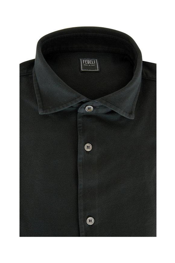 Fedeli Moss Green Pique Sport Shirt