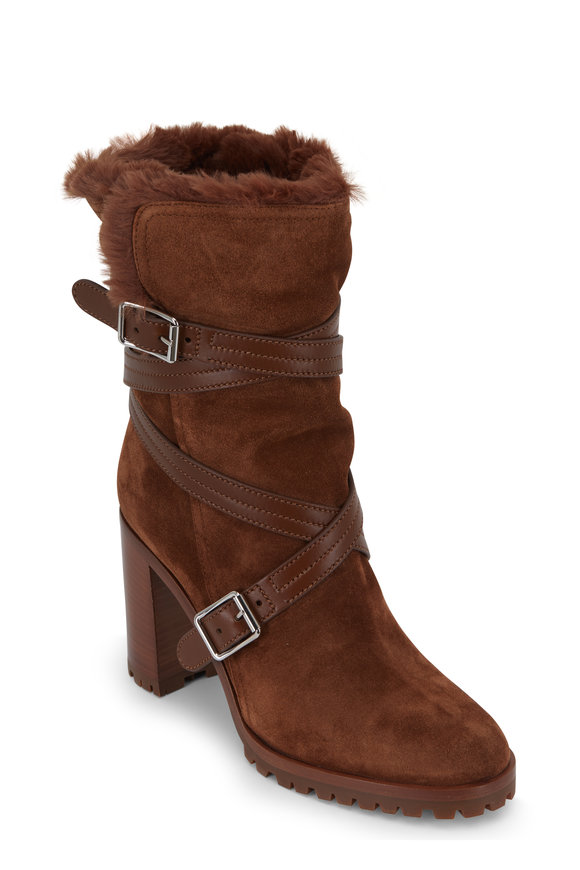 Gianvito Rossi Texas Cognac Suede Shearling Lined Boot, 85mm