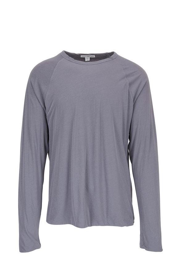 James Perse North Blue Raglan Sleeve Crewneck T-Shirt