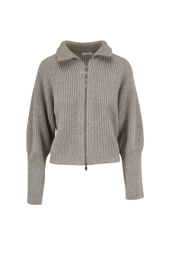 Brunello Cucinelli Birch Wool & Cashmere Stand Collar Cardigan