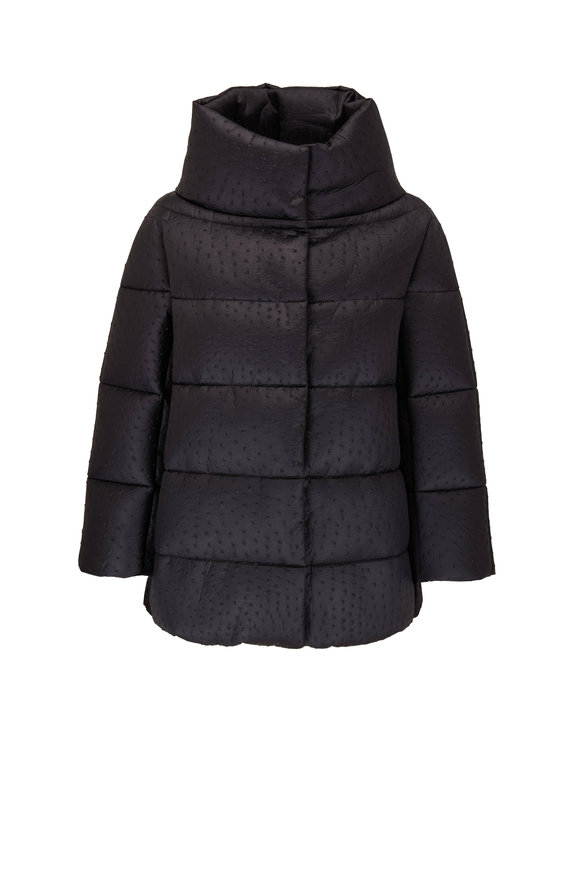Herno Black Ostrich Embossed Nylon Puffer Jacket