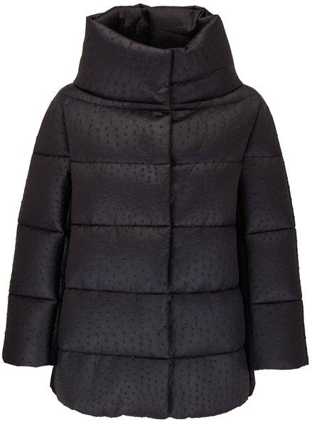 Herno Black Ostrich Embossed Nylon Puffer Jacket