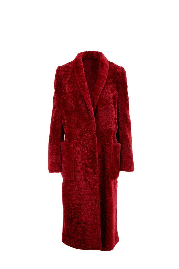 Sally LaPointe Red Shearling Shawl Collar Coat