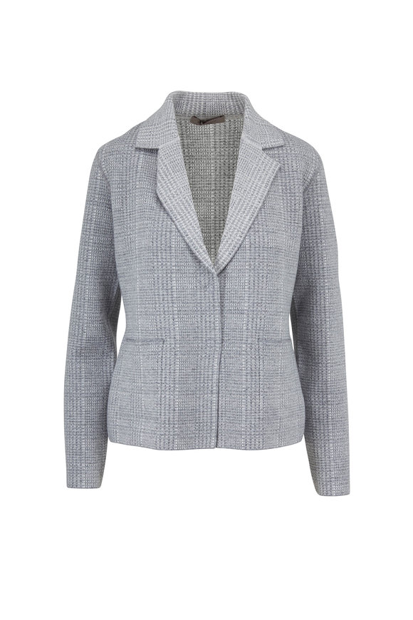 D.Exterior Grey Cashmere Blend Houndstooth Reversible Jacket