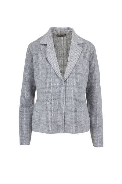 D.Exterior - Grey Cashmere Blend Houndstooth Reversible Jacket