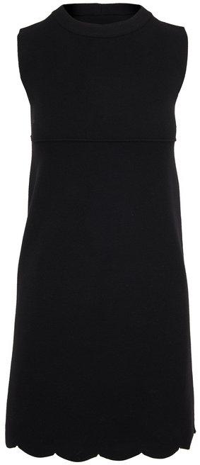 D.Exterior Black Wool Scallop Hem Sleeveless Shift Dress