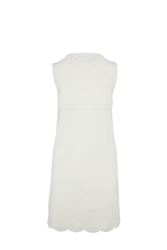 D.Exterior Ivory Scallop Hem A-Line Sleeveless Shift Dress