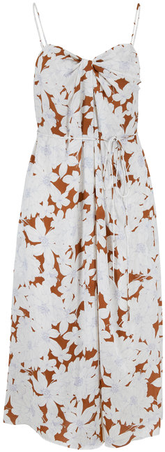 Vince Teakwood Tropical Blooms Twist Front Dress
