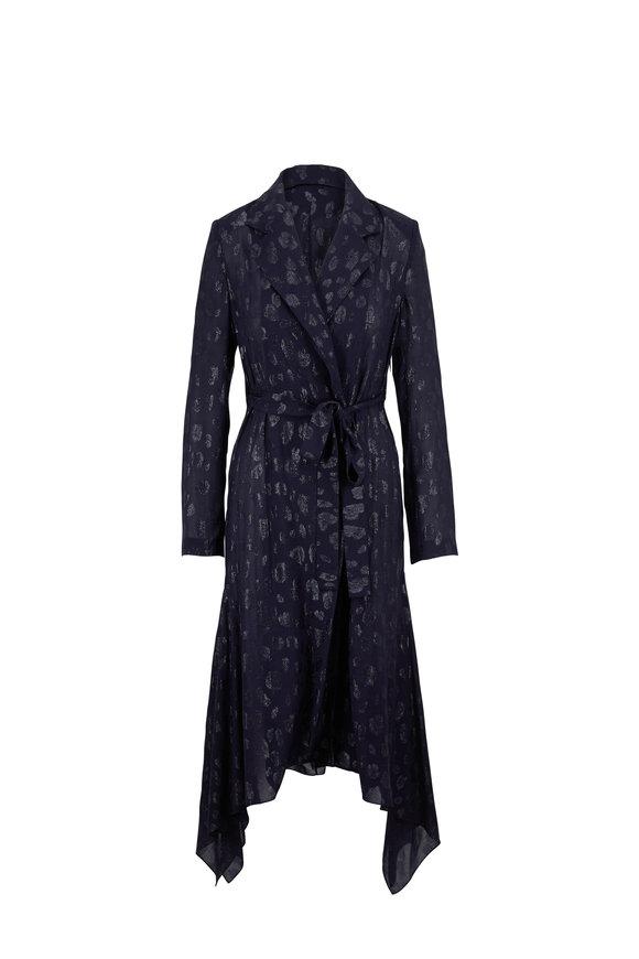 Cushnie Navy Tonal Cheetah Print Long Sleeve Wrap Dress