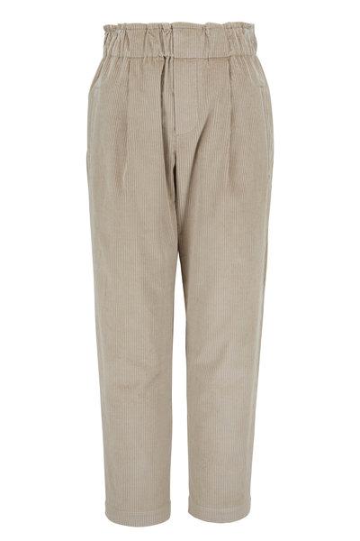 Brunello Cucinelli - Oat Cotton & Cashmere Corduroy Pull-On Pant