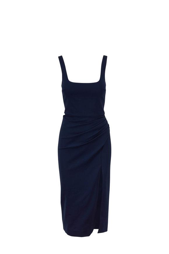 Cushnie Navy Square Neck Sleeveless Pencil Dress