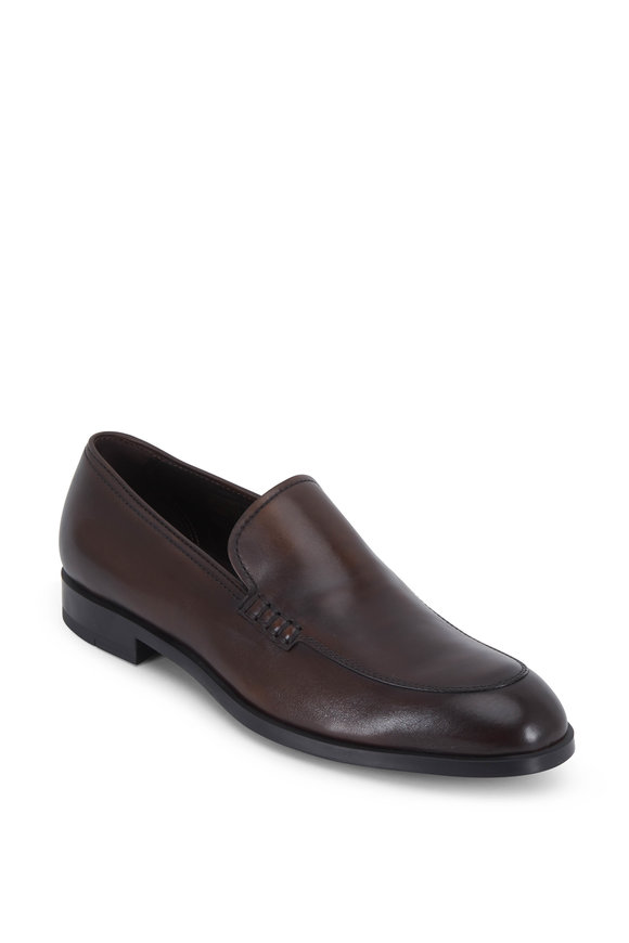 Ermenegildo Zegna Siena Flex Medium Brown Leather Loafer