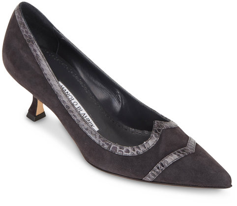 Manolo Blahnik Dark Gray Suede & Snakeskin Pump, 50mm