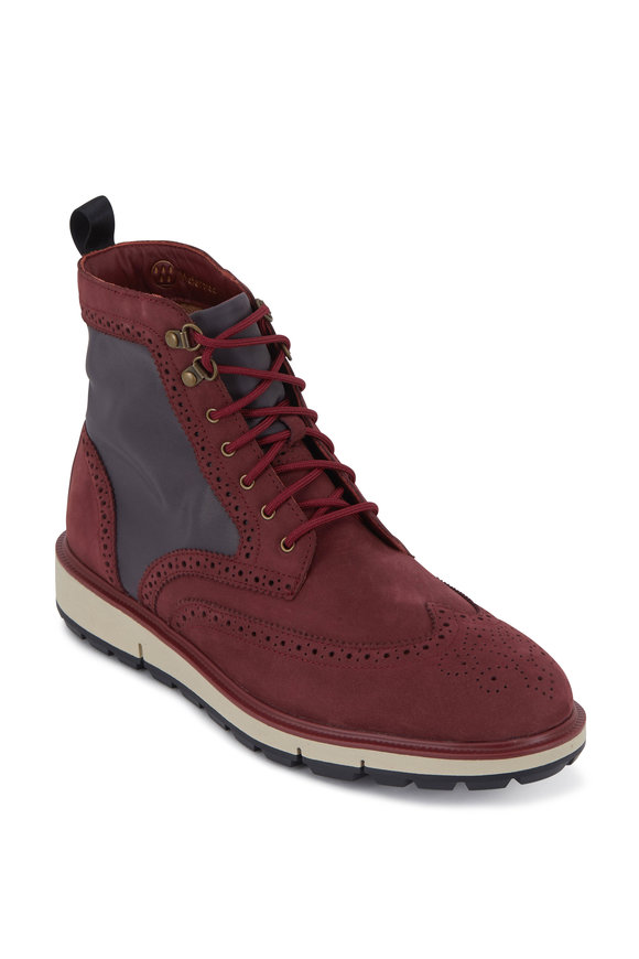 Swims Motion Cabernet Suede & Gray Nylon Wingtip Boot