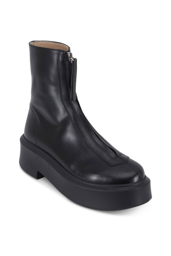 Zipped Black Leather Lug Sole Short Boot