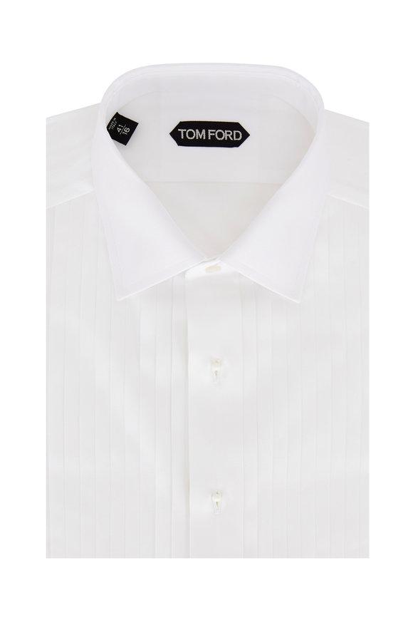 Tom Ford White Plissé Tuxedo Shirt