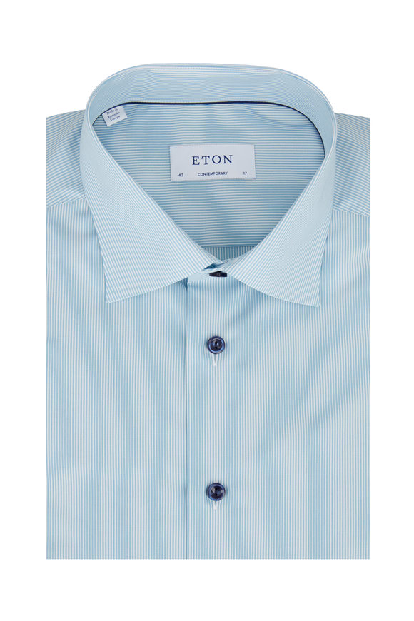 Eton Teal Striped Contemporary Fit Dress Shirt
