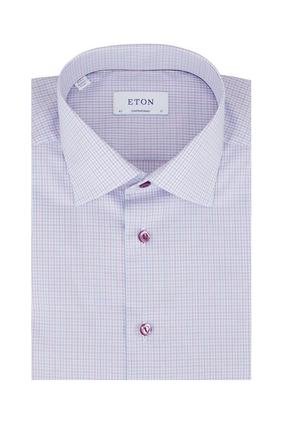 Eton Lilac & Light Blue Check Contemporary Dress Shirt