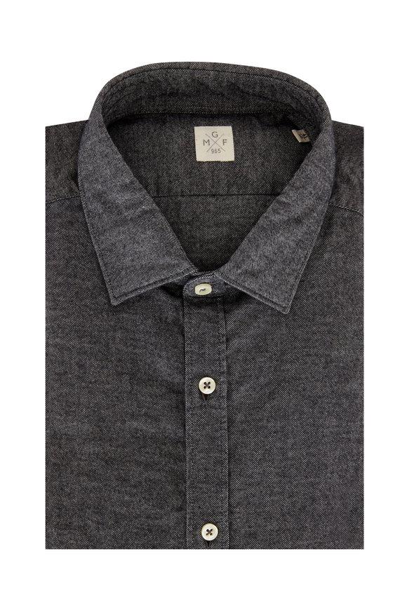 GMF Gray Diagonal Striped Flannel Sport Shirt