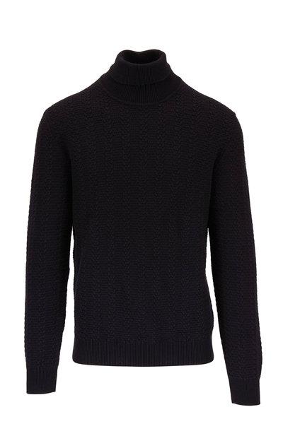 Ermenegildo Zegna - Black Textured Knit Cashmere Turtleneck Pullover