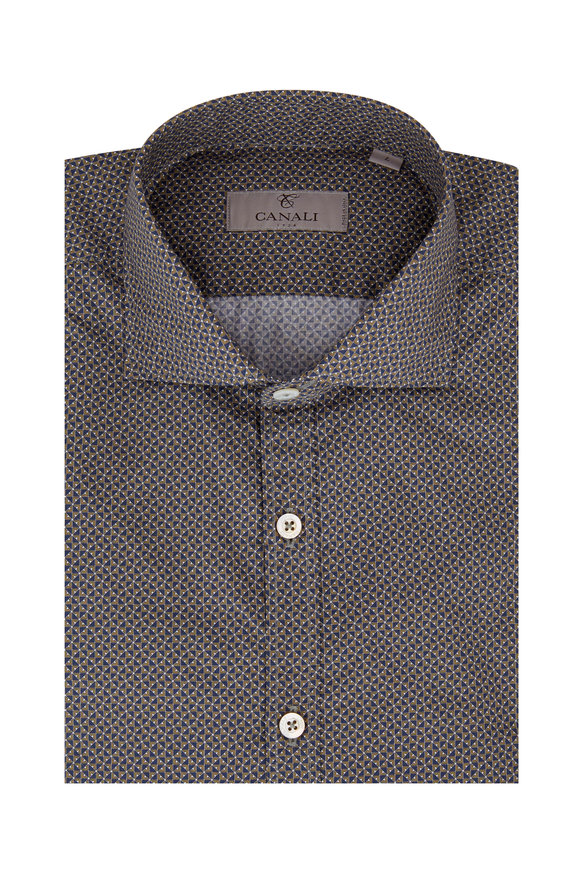 Canali Olive & Navy Geometric Sport Shirt
