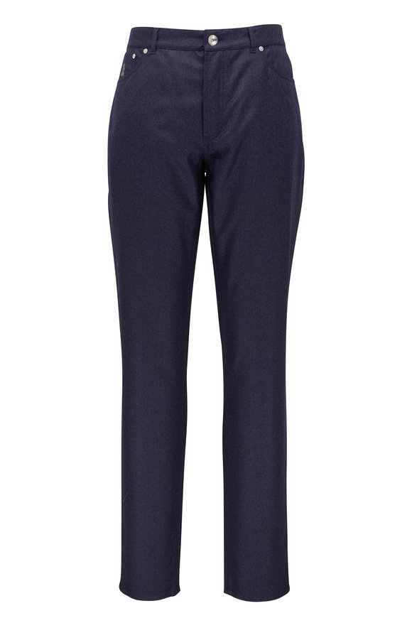 Brunello Cucinelli Navy Flannel Five Pocket Traditional Fit Pant