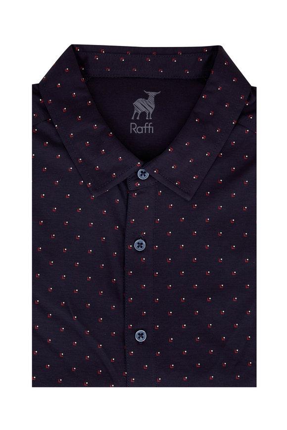 Raffi  Navy Blue Geometric Sport Shirt
