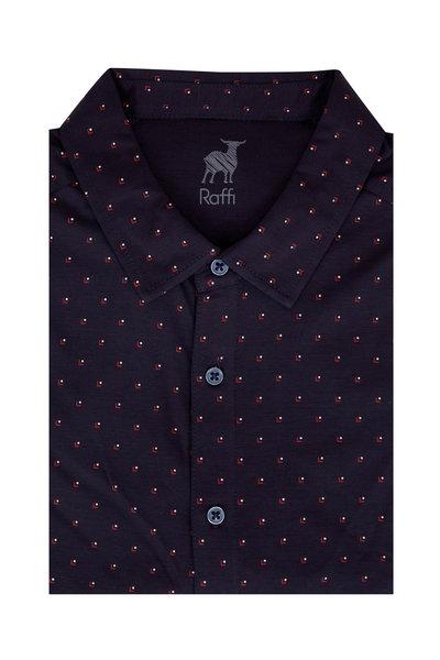 Raffi - Navy Blue Geometric Sport Shirt
