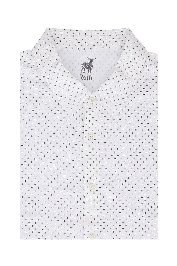 Raffi  White Geometric Sport Shirt