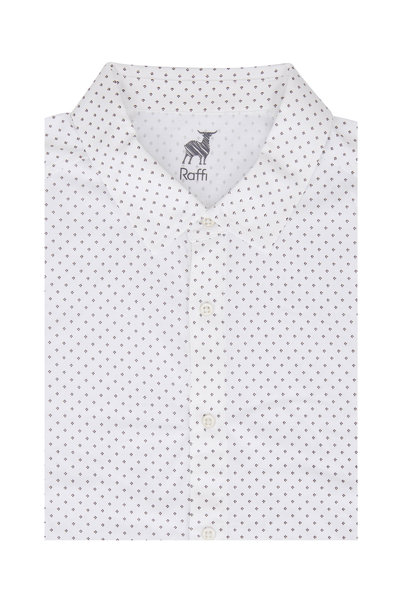 Raffi - White Geometric Sport Shirt