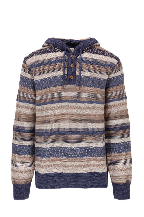 Faherty Brand Baja Navy & Tan Striped Quarter-Button Hoodie
