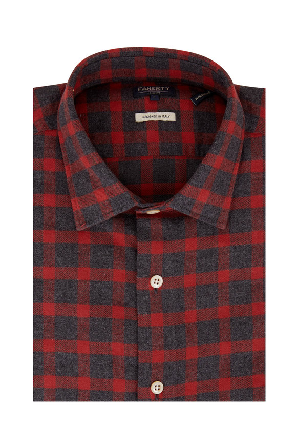 Faherty Brand Summit Red & Gray Plaid Sport Shirt