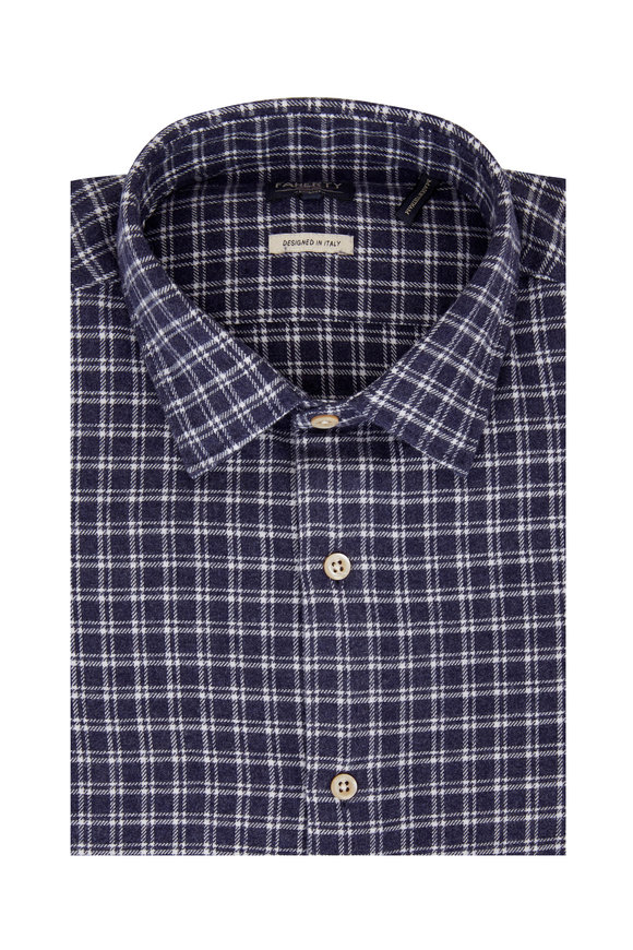 Faherty Brand Summit Navy Blue Check Sport Shirt