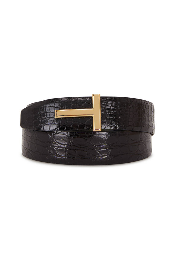 Tom Ford Black Crocodile Belt