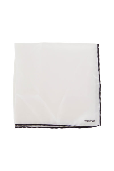 Tom Ford - Solid White Silk Pocket Square