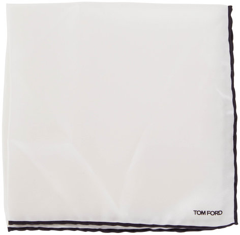 Tom Ford Solid White Silk Pocket Square