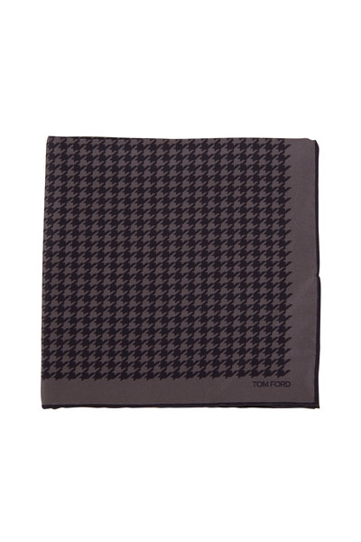 Tom Ford - Gray Houndstooth Silk Pocket Square