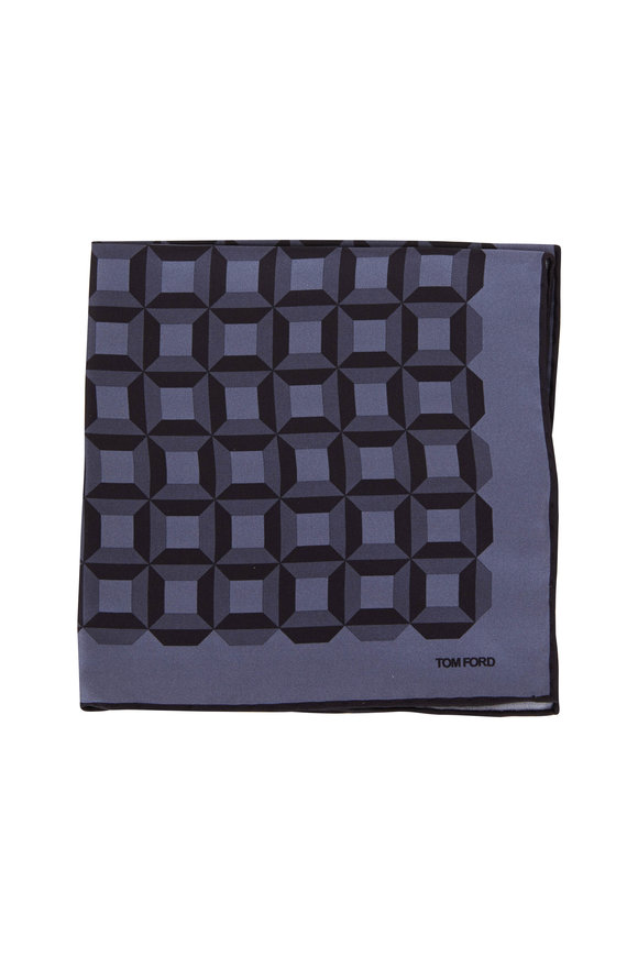 Tom Ford Dark Gray Geometric Silk Pocket Square
