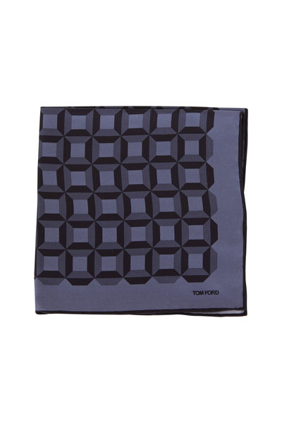 Tom Ford - Dark Gray Geometric Silk Pocket Square