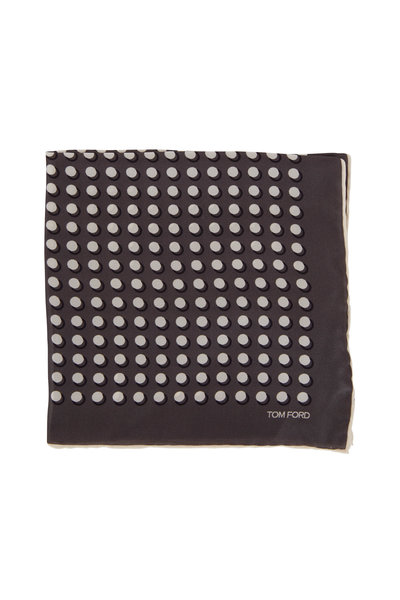 Tom Ford - Gray Circle Silk Pocket Square