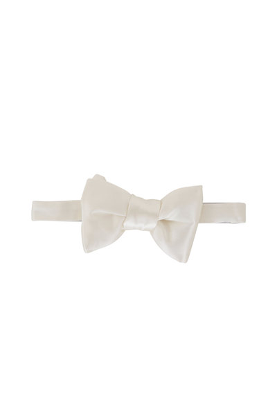 Tom Ford - White Satin Pre-Tied Bowtie