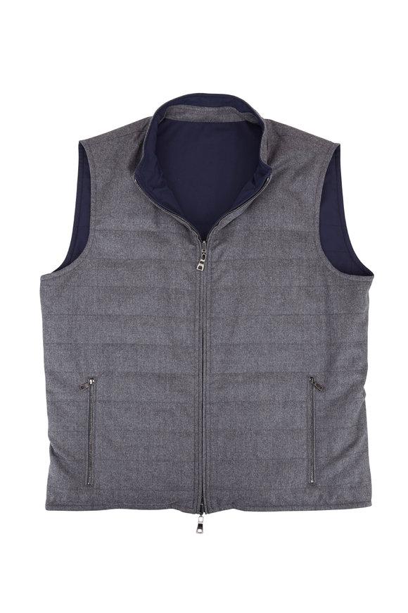 Peter Millar All Weather Gray & Navy Flex Reversible Vest